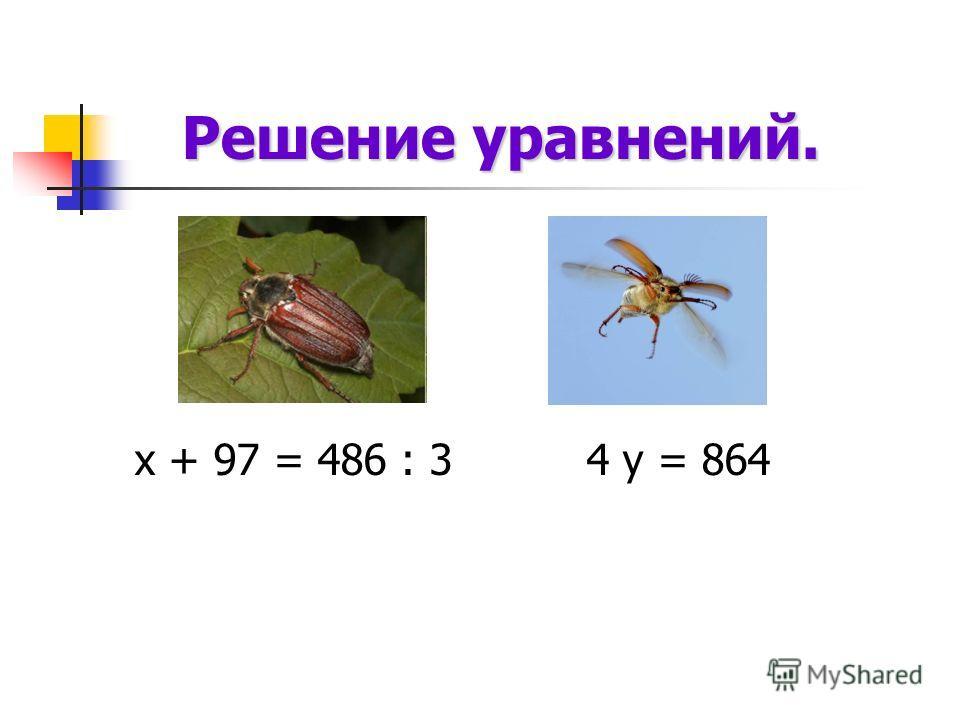 Решение уравнений. Решение уравнений. х + 97 = 486 : 3 4 у = 864