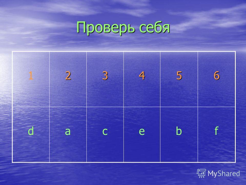Проверь себя 123456 dacebf