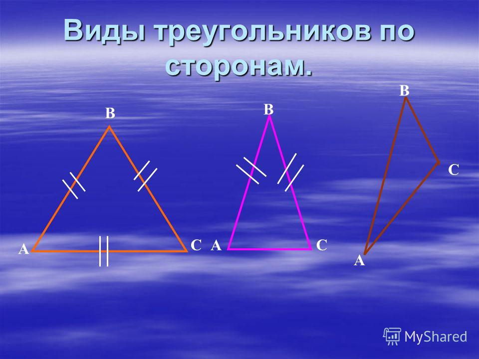 Виды треугольников по сторонам. А В СА В В А С C