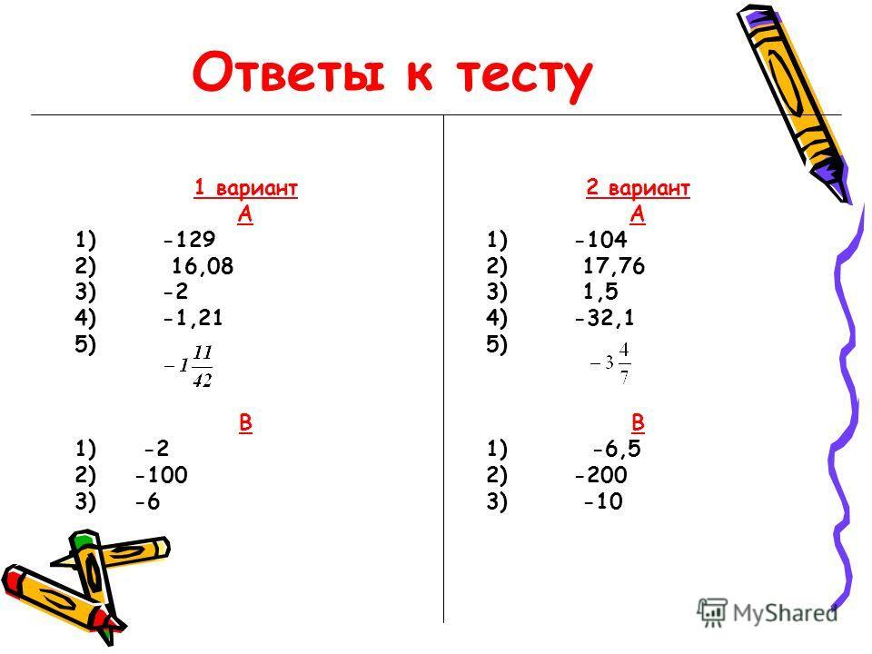 Ответы к тесту 1 вариант А 1) -129 2) 16,08 3) -2 4) -1,21 5) В 1) -2 2) -100 3) -6 2 вариант А 1) -104 2) 17,76 3) 1,5 4) -32,1 5) В 1) -6,5 2) -200 3) -10
