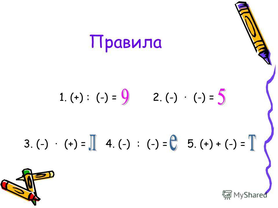Правила 1. (+) : (-) = 2. (-) · (-) = 3. (-) · (+) = 4. (-) : (-) = 5. (+) + (-) =