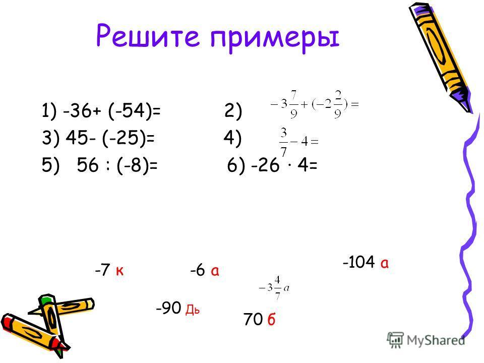 Решите примеры 1) -36+ (-54)= 2) 3) 45- (-25)= 4) 5) 56 : (-8)= 6) -26 · 4= -90 Дь 70 б -6 а-7 к -104 а
