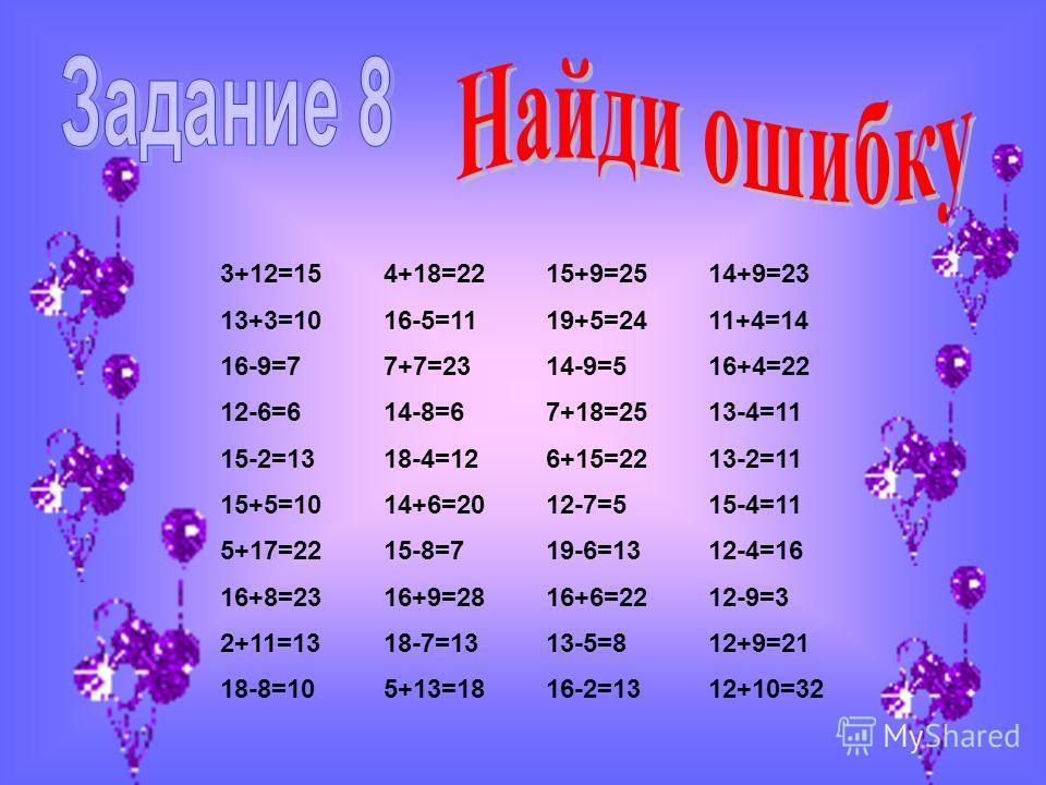 3+12=154+18=2215+9=2514+9=23 13+3=1016-5=1119+5=2411+4=14 16-9=77+7=2314-9=516+4=22 12-6=614-8=67+18=2513-4=11 15-2=1318-4=126+15=2213-2=11 15+5=1014+6=2012-7=515-4=11 5+17=2215-8=719-6=1312-4=16 16+8=2316+9=2816+6=2212-9=3 2+11=1318-7=1313-5=812+9=2