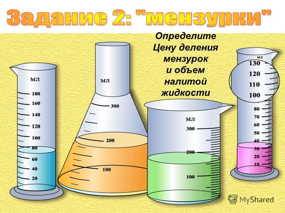 Определите Цену деления мензурок и объем налитой жидкости