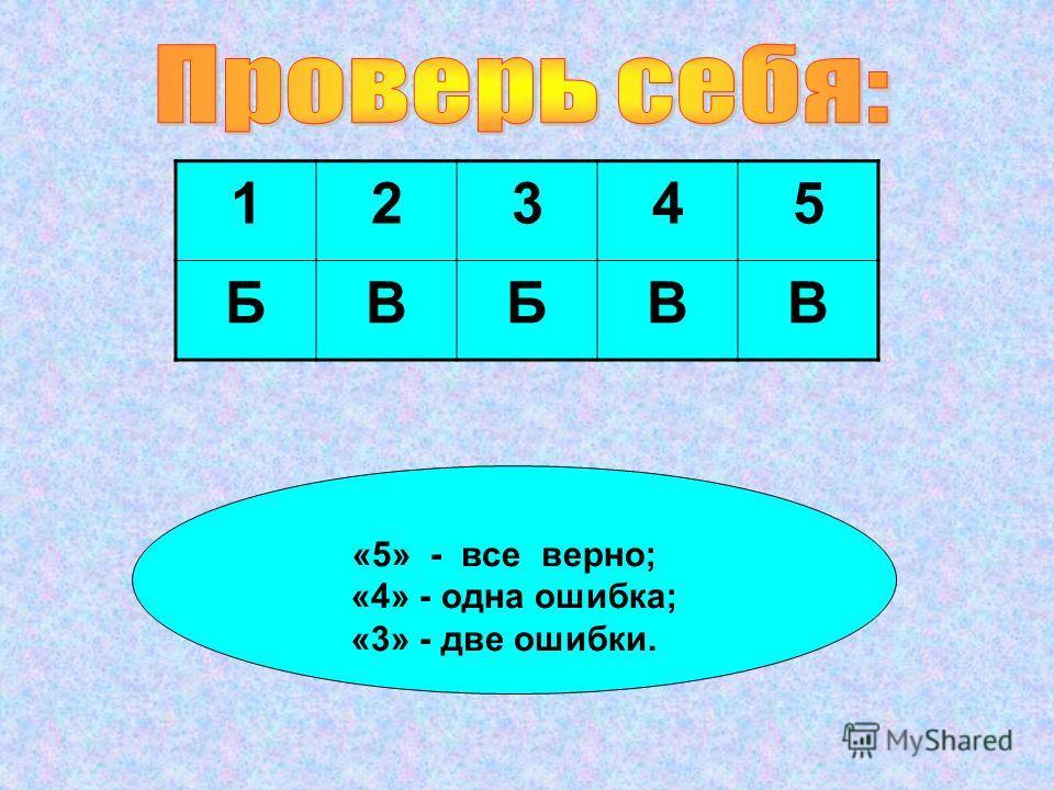 12345 БВБВВ «5» - все верно; «4» - одна ошибка; «3» - две ошибки.