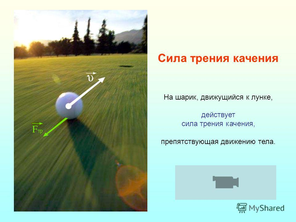 Сила трения качения На шарик, движущийся к лунке, действует сила трения качения, препятствующая движению тела.