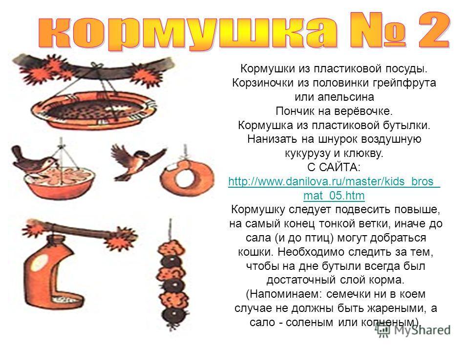 Кормушки из пластиковой посуды. Корзиночки из половинки грейпфрута или апельсина Пончик на верёвочке. Кормушка из пластиковой бутылки. Нанизать на шнурок воздушную кукурузу и клюкву. С САЙТА: http://www.danilova.ru/master/kids_bros_ mat_05.htm http:/
