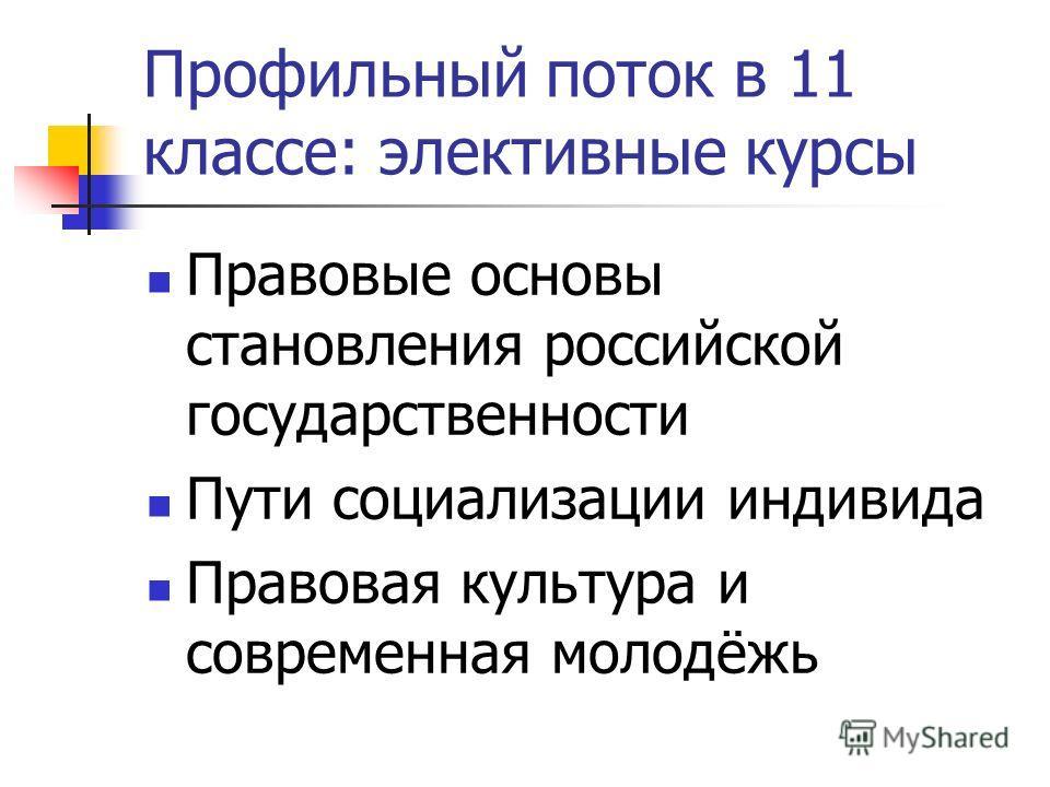 Профильный поток в 11 классе: элективные курсы Правовые основы становления российской государственности Пути социализации индивида Правовая культура и современная молодёжь