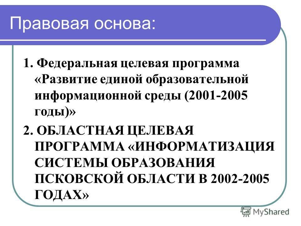 Правовая основа: 1. Федеральная целевая программа «Развитие единой образовательной информационной среды (2001-2005 годы)» 2. ОБЛАСТНАЯ ЦЕЛЕВАЯ ПРОГРАММА «ИНФОРМАТИЗАЦИЯ СИСТЕМЫ ОБРАЗОВАНИЯ ПСКОВСКОЙ ОБЛАСТИ В 2002-2005 ГОДАХ»