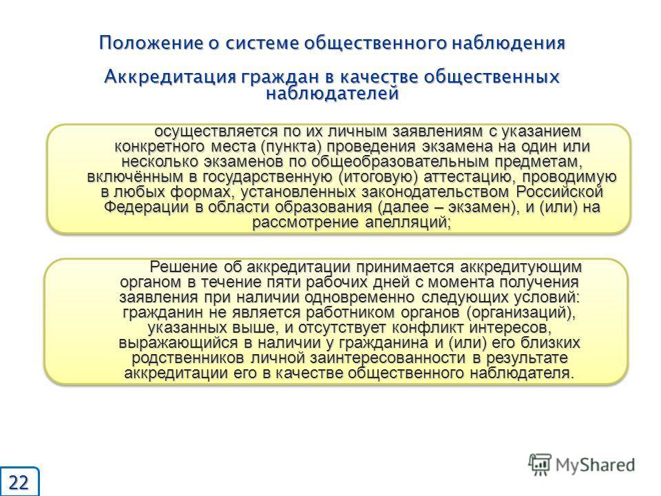 Положение о системе общественного наблюдения Аккредитация граждан в качестве общественных наблюдателей осуществляется по их личным заявлениям с указанием конкретного места (пункта) проведения экзамена на один или несколько экзаменов по общеобразовате
