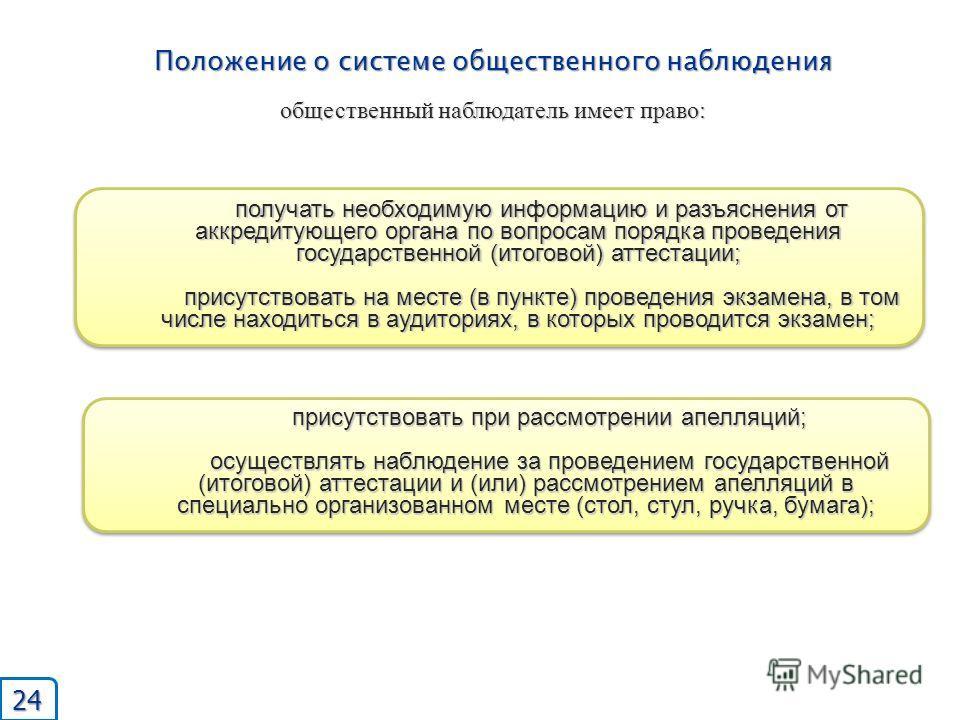 Положение о системе общественного наблюдения общественный наблюдатель имеет право: получать необходимую информацию и разъяснения от аккредитующего органа по вопросам порядка проведения государственной (итоговой) аттестации; присутствовать на месте (в