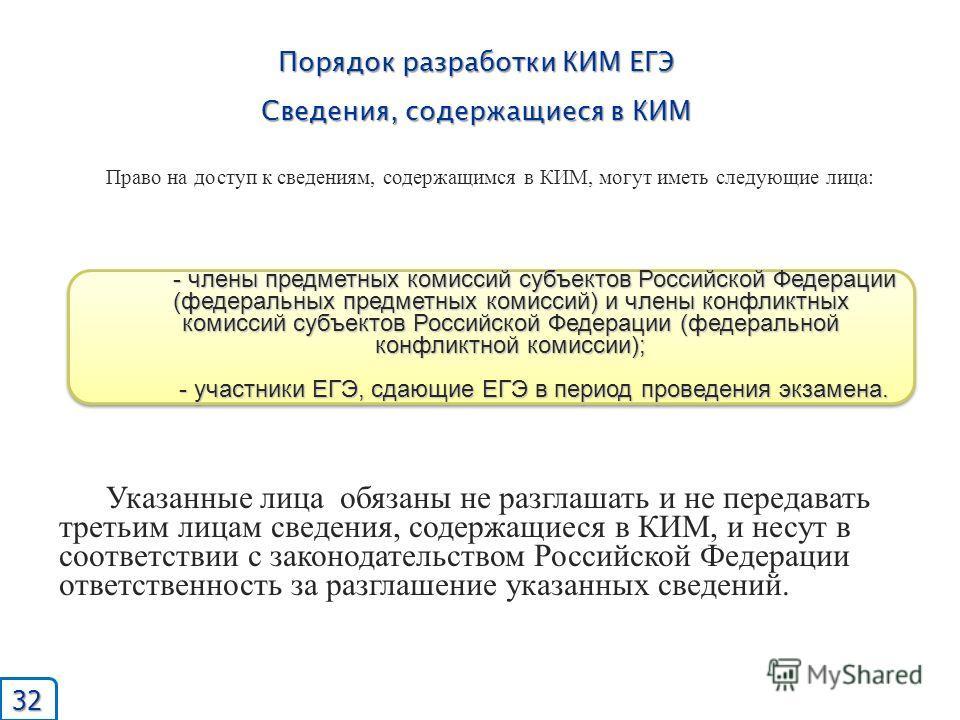 Порядок разработки КИМ ЕГЭ Сведения, содержащиеся в КИМ - члены предметных комиссий субъектов Российской Федерации (федеральных предметных комиссий) и члены конфликтных комиссий субъектов Российской Федерации (федеральной конфликтной комиссии); - уча