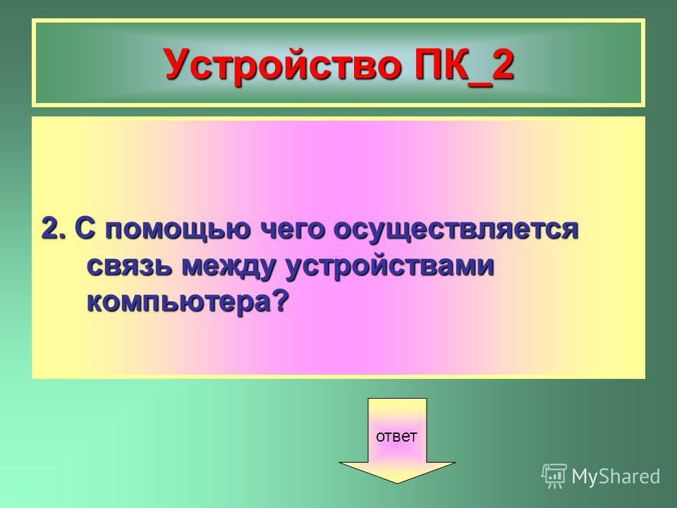 Устройство ПК_2 2. С помощью чего осуществляется связь между устройствами компьютера? ответ