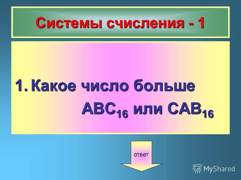 Системы счисления - 1 1.Какое число больше ABC 16 или CAB 16 ABC 16 или CAB 16 ответ