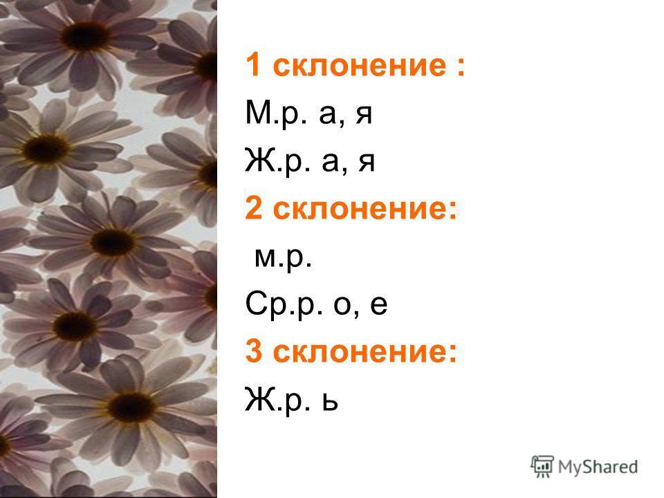 1 склонение : М.р. а, я Ж.р. а, я 2 склонение: м.р. Ср.р. о, е 3 склонение: Ж.р. ь