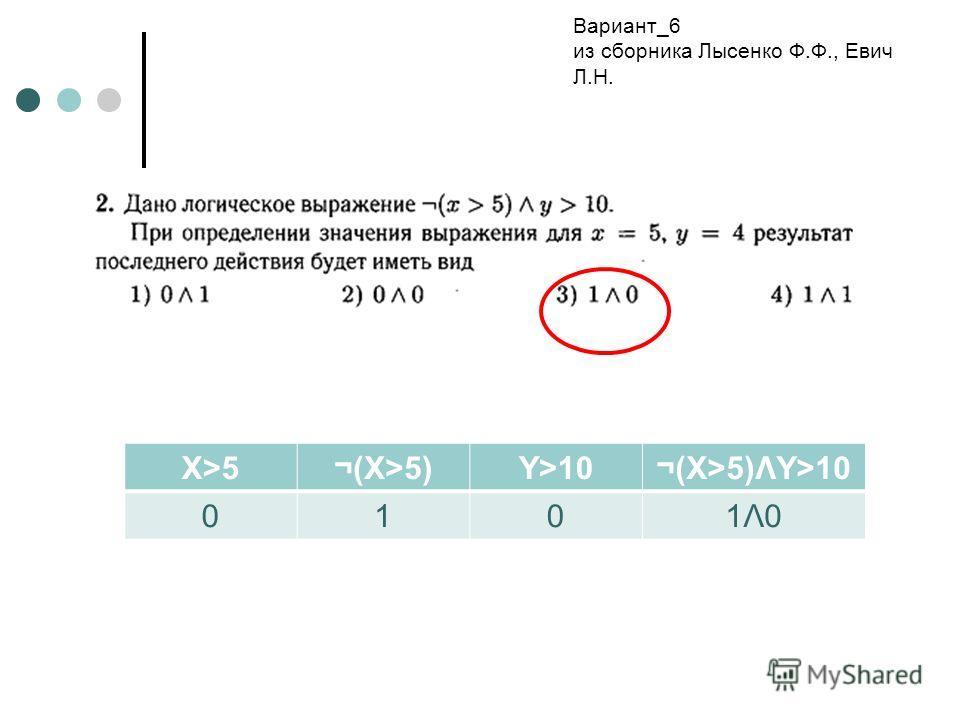 X>5¬(X>5)Y>10¬(X>5)ΛY>10 0101Λ01Λ0 Вариант_6 из сборника Лысенко Ф.Ф., Евич Л.Н.