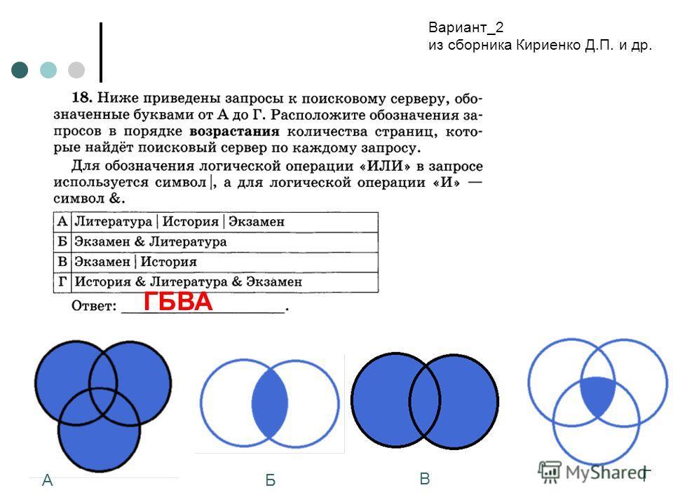 Вариант_2 из сборника Кириенко Д.П. и др. АБ В Г ГБВА