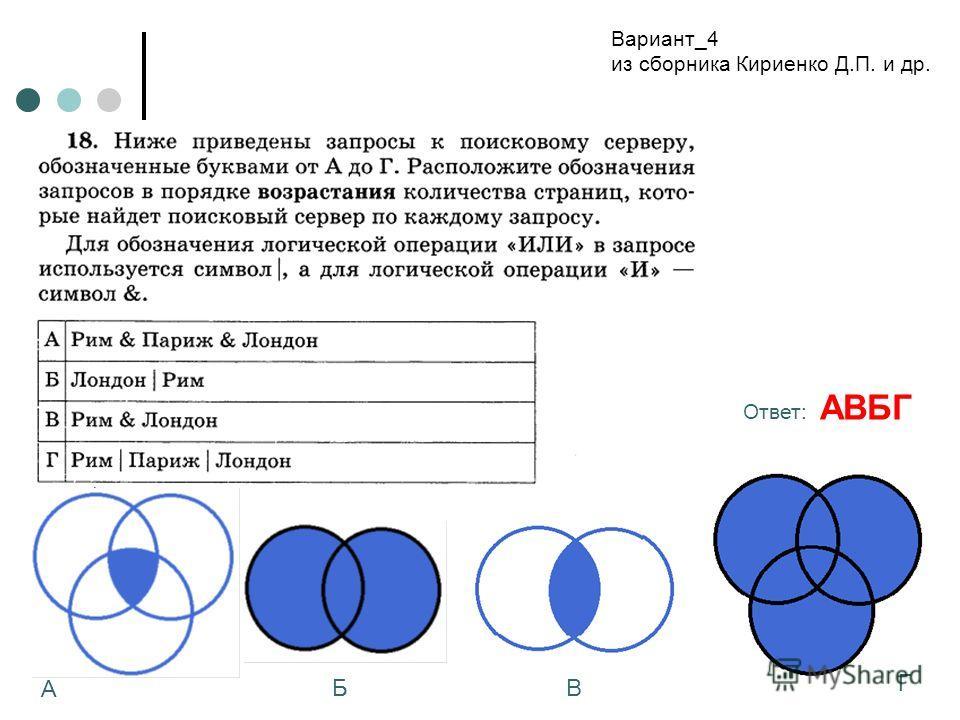 Вариант_4 из сборника Кириенко Д.П. и др. А БВ Г Ответ: АВБГ