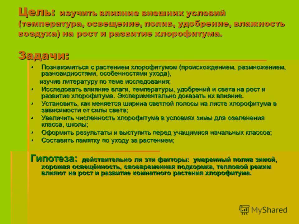 Цель: изучить влияние внешних условий (температура, освещение, полив, удобрение, влажность воздуха) на рост и развитие хлорофитума. Задачи: Познакомиться с растением хлорофитумом (происхождением, размножением, разновидностями, особенностями ухода), П