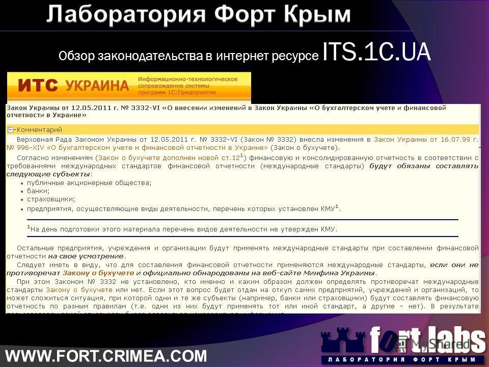 Обзор законодательства в интернет ресурсе ITS.1C.UA WWW.FORT.CRIMEA.COM