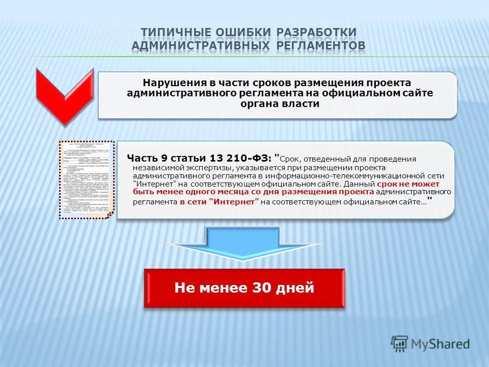 Нарушения в части сроков размещения проекта административного регламента на официальном сайте органа власти Часть 9 статьи 13 210-ФЗ: