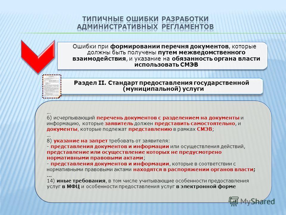 Ошибки при формировании перечня документов, которые должны быть получены путем межведомственного взаимодействия, и указание на обязанность органа власти использовать СМЭВ Раздел II. Стандарт предоставления государственной (муниципальной) услуги … 6)