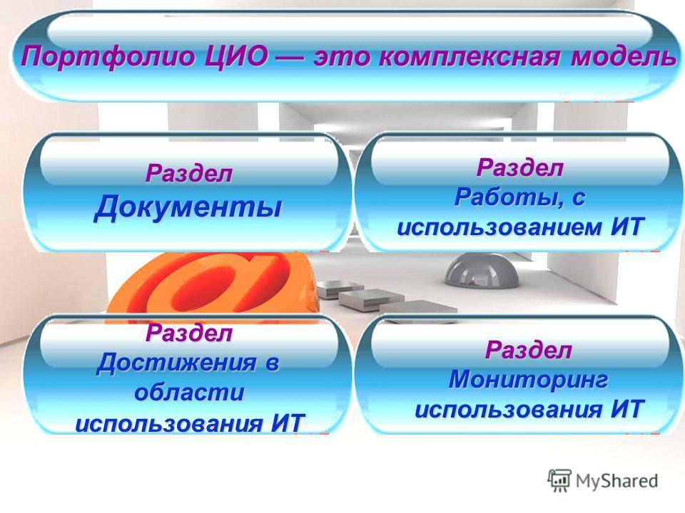 Портфолио ЦИО это комплексная модель Раздел Документы Раздел Работы, с использованием ИТ Раздел Достижения в области использования ИТ Раздел Мониторинг использования ИТ