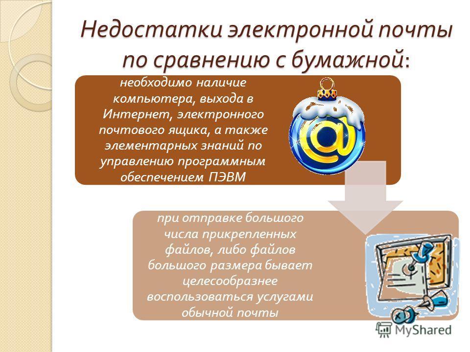 Недостатки электронной почты по сравнению с бумажной : необходимо наличие компьютера, выхода в Интернет, электронного почтового ящика, а также элементарных знаний по управлению программным обеспечением ПЭВМ при отправке большого числа прикрепленных ф