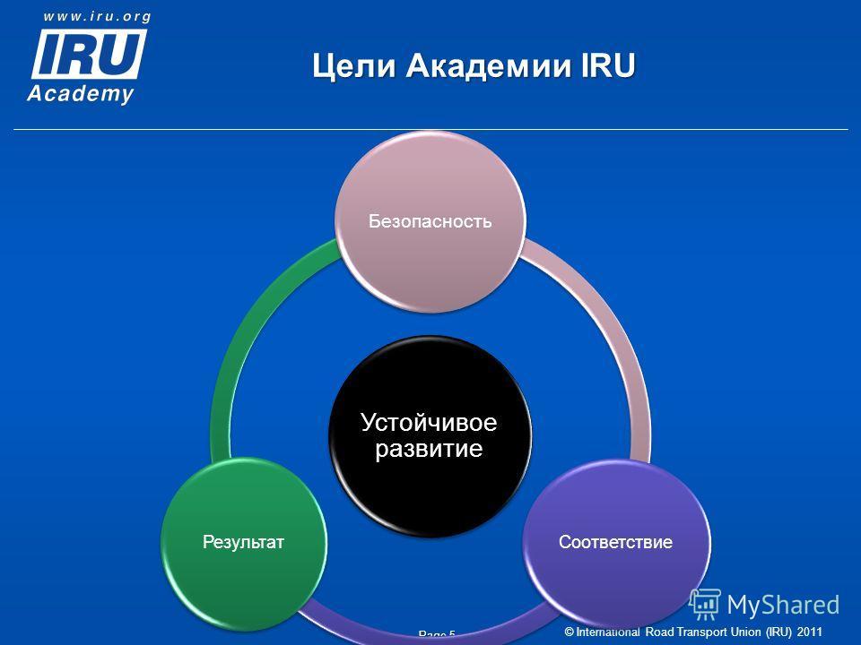 © International Road Transport Union (IRU) 2011 Page 5 Цели Академии IRU Устойчивое развитие Безопасность Соответствие Результат