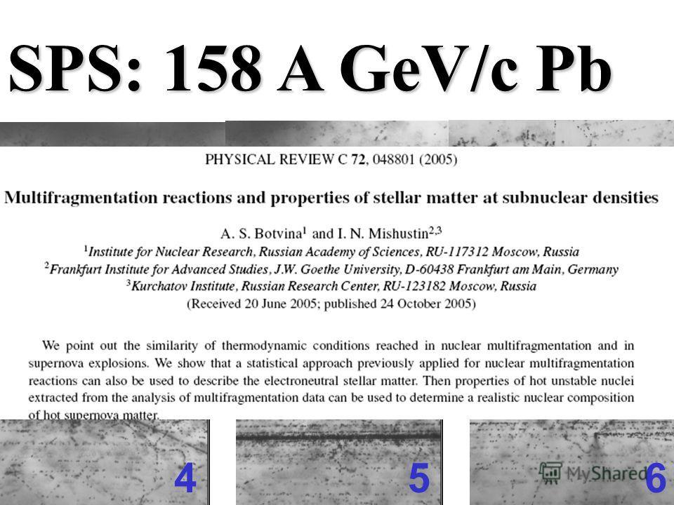 1 23 456 SPS: 158 A GeV/c Pb