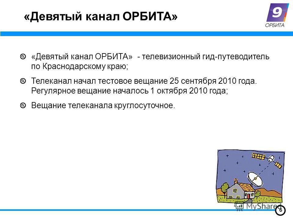 «Девятый канал ОРБИТА» «Девятый канал ОРБИТА» - телевизионный гид-путеводитель по Краснодарскому краю; Телеканал начал тестовое вещание 25 сентября 2010 года. Регулярное вещание началось 1 октября 2010 года; Вещание телеканала круглосуточное. 6