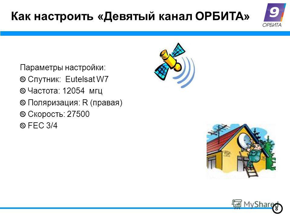 Как настроить «Девятый канал ОРБИТА» Параметры настройки: Спутник: Eutelsat W7 Частота: 12054 мгц Поляризация: R (правая) Скорость: 27500 FEC 3/4 8