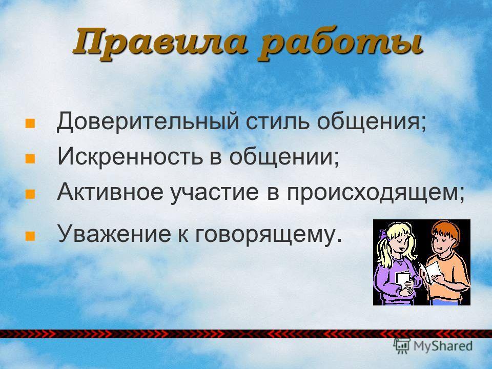 Правила работы Доверительный стиль общения; Искренность в общении; Активное участие в происходящем; Уважение к говорящему.