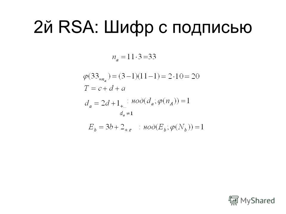 2й RSA: Шифр c подписью
