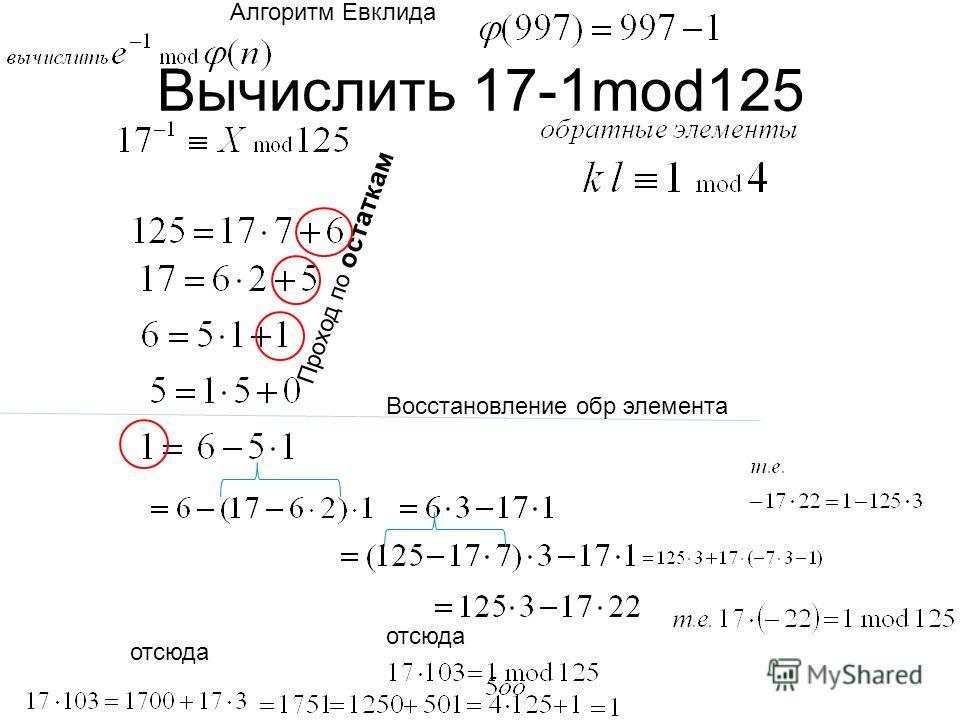 Вычислить 17-1mod125 Восстановление обр элемента отсюда Алгоритм Евклида Проход по остаткам