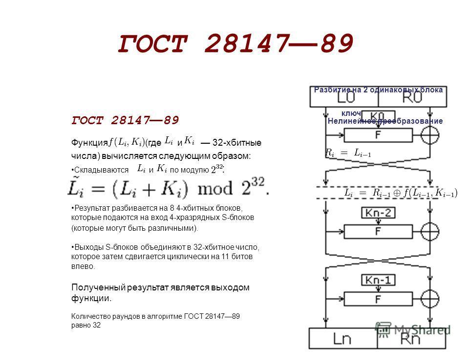 ГОСТ 28147 89 Функция (где и 32-хбитные числа) вычисляется следующим образом: Складываются и по модулю : Результат разбивается на 8 4-хбитных блоков, которые подаются на вход 4-хразрядных S-блоков (которые могут быть различными). Выходы S-блоков объе