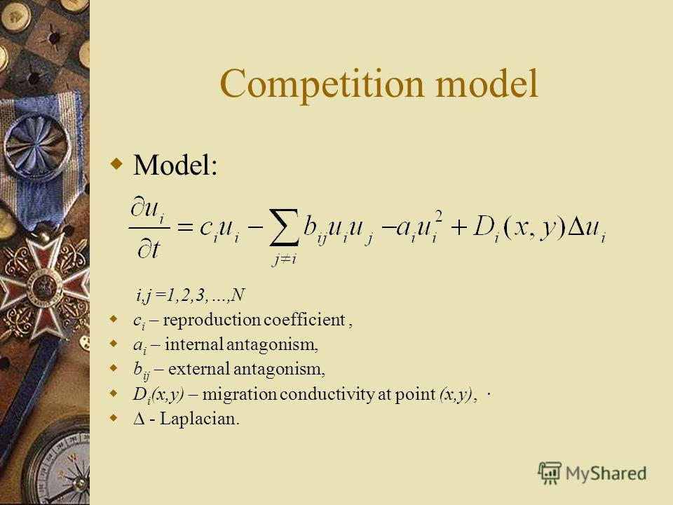 Competition model Model: i,j =1,2,3,…,N c i – reproduction coefficient, a i – internal antagonism, b ij – external antagonism, D i (x,y) – migration conductivity at point (x,y), - Laplacian.