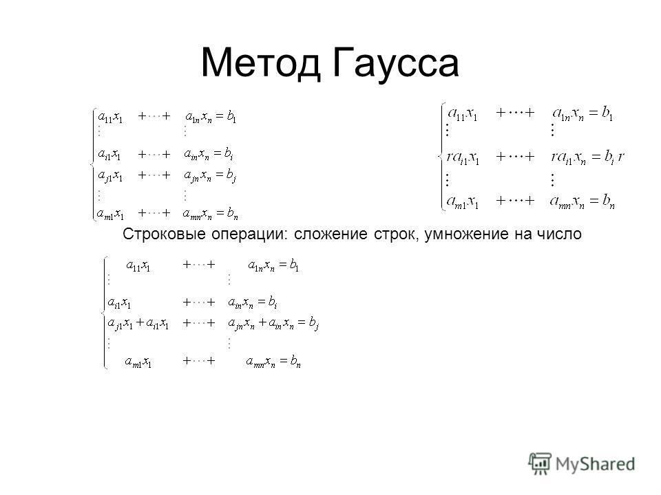 Метод Гаусса Строковые операции: сложение строк, умножение на число