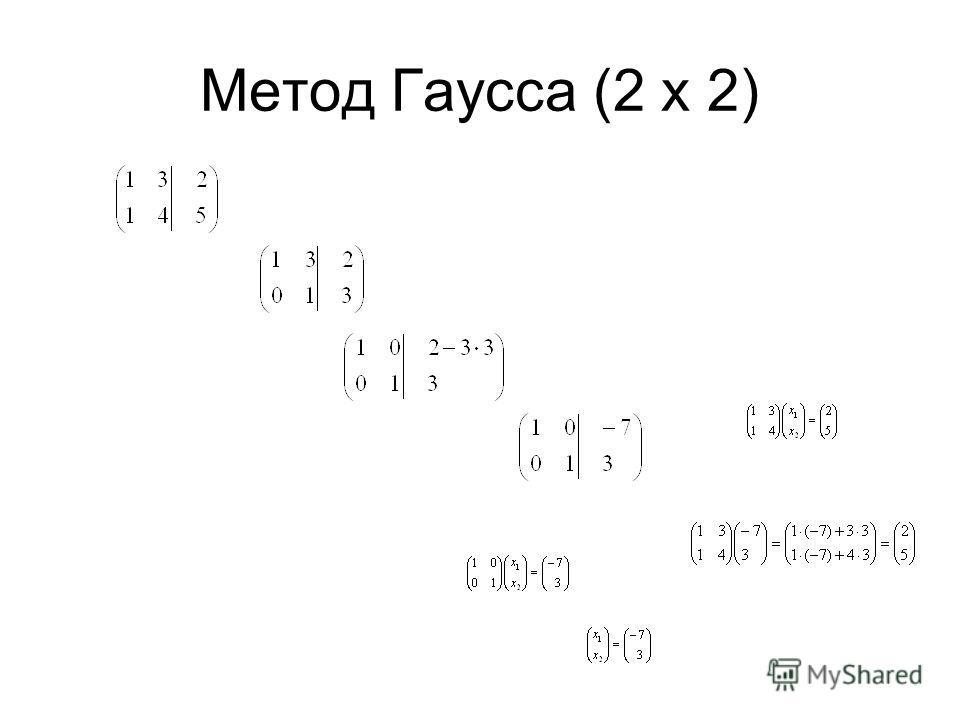 Метод Гаусса (2 х 2)