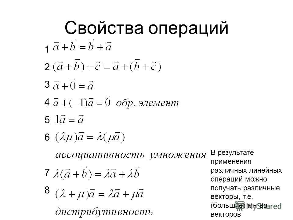 Свойства операций В результате применения различных линейных операций можно получать различные векторы, т.е. (большие) мн-ва векторов 1234567812345678