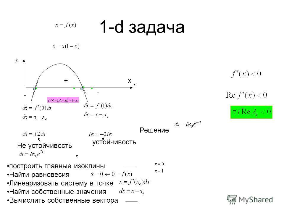 1-d задача x построить главные изоклины Найти равновесия Линеаризовать систему в точке Найти собственные значения Вычислить собственные вектора устойчивость Не устойчивость Решение + - -