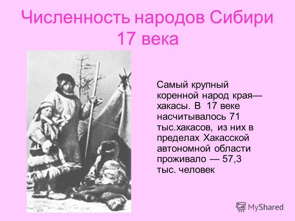 Численность народов Сибири 17 века Самый крупный коренной народ края хакасы. В 17 веке насчитывалось 71 тыс.хакасов, из них в пределах Хакасской автономной области проживало 57,3 тыс. человек