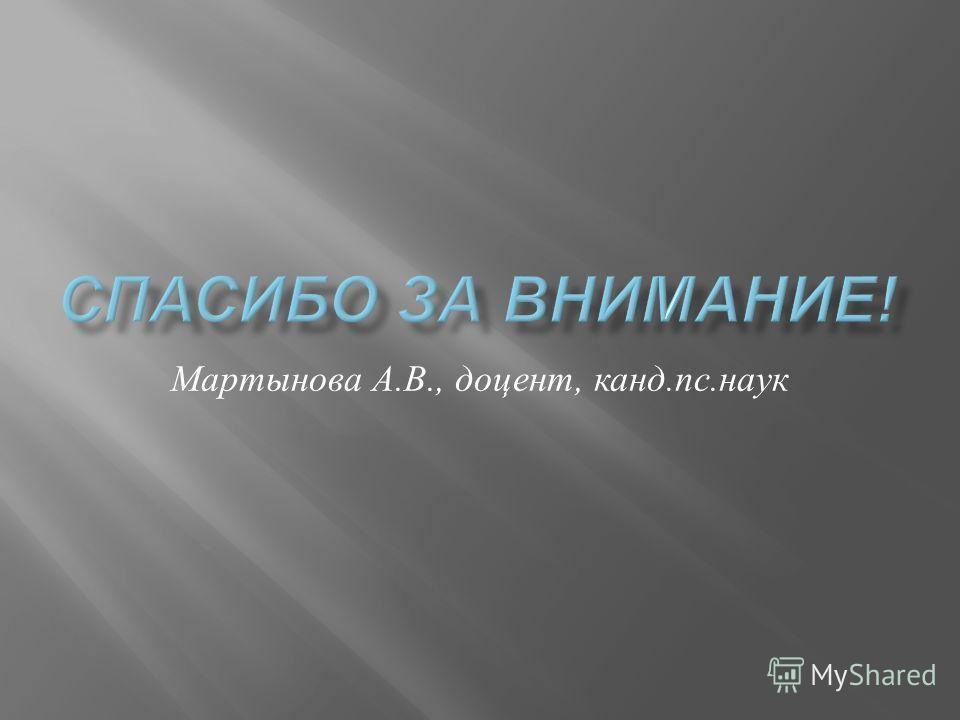 Мартынова А. В., доцент, канд. пс. наук