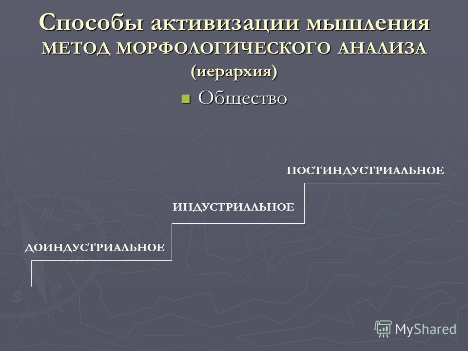 Способы активизации мышления МЕТОД МОРФОЛОГИЧЕСКОГО АНАЛИЗА (иерархия) Общество Общество ДОИНДУСТРИАЛЬНОЕ ИНДУСТРИАЛЬНОЕ ПОСТИНДУСТРИАЛЬНОЕ