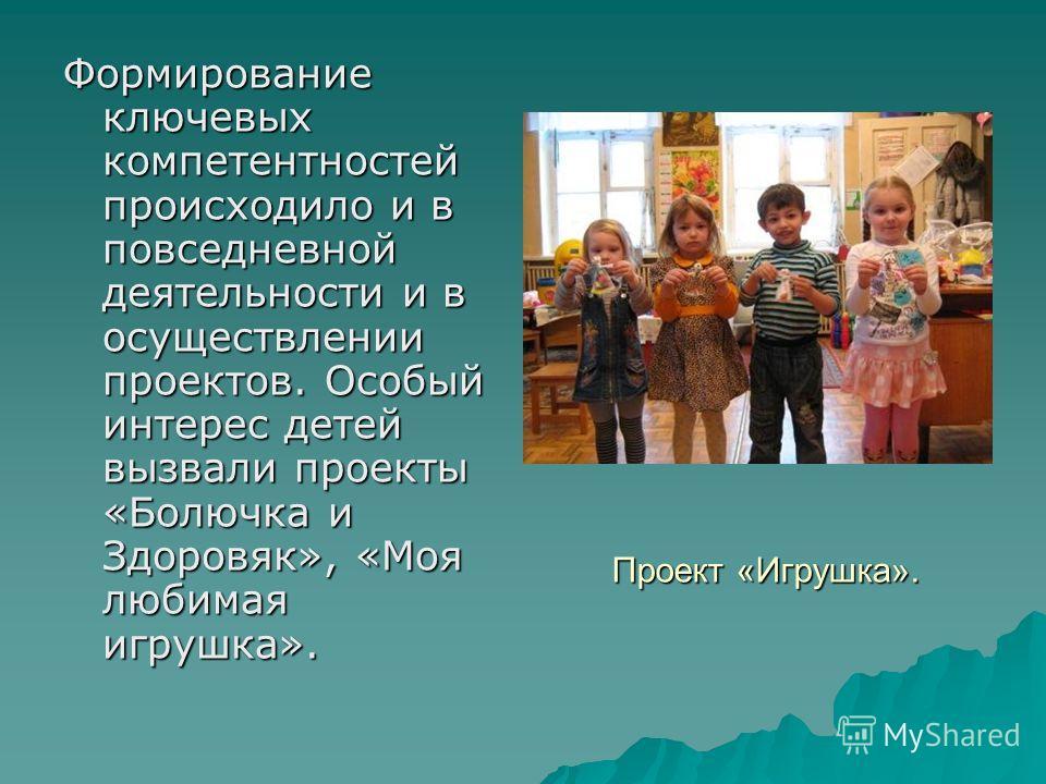 Формирование ключевых компетентностей происходило и в повседневной деятельности и в осуществлении проектов. Особый интерес детей вызвали проекты «Болючка и Здоровяк», «Моя любимая игрушка». Проект «Игрушка».