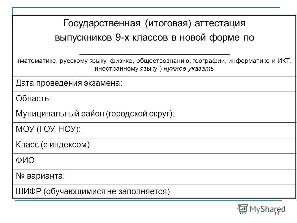 14 Государственная (итоговая) аттестация выпускников 9-х классов в новой форме по ___________________________ (математике, русскому языку, физике, обществознанию, географии, информатике и ИКТ, иностранному языку ) нужное указать Дата проведения экзам