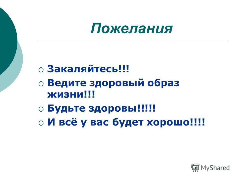 Пожелания Закаляйтесь!!! Ведите здоровый образ жизни!!! Будьте здоровы!!!!! И всё у вас будет хорошо!!!!