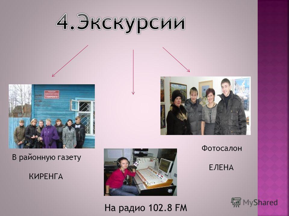 В районную газету КИРЕНГА На радио 102.8 FM Фотосалон ЕЛЕНА