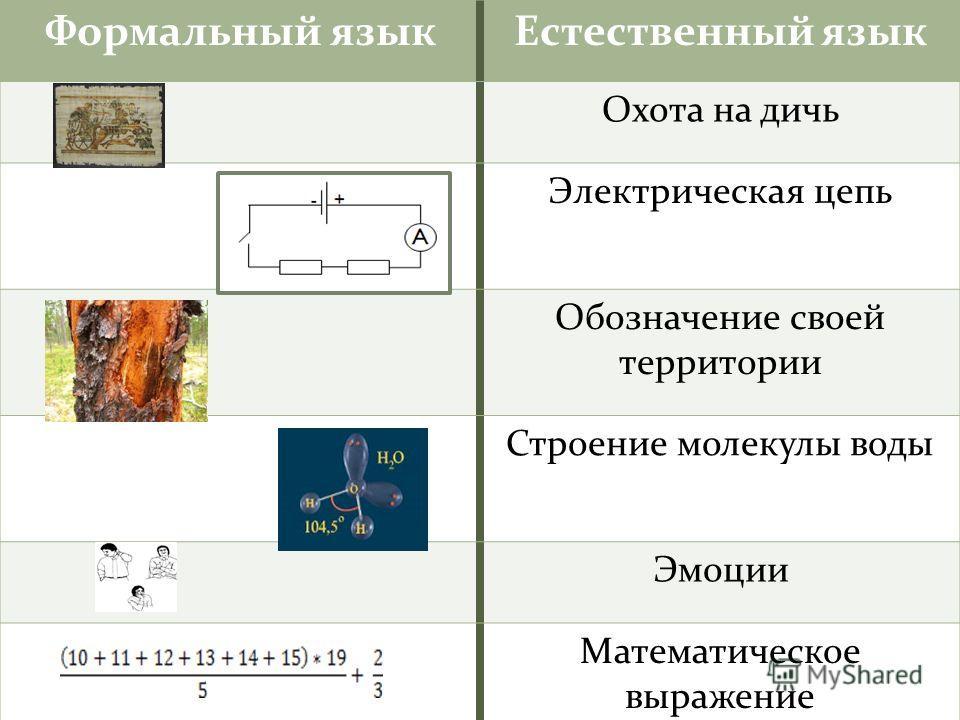Формальный языкЕстественный язык Охота на дичь Электрическая цепь Обозначение своей территории Строение молекулы воды Эмоции Математическое выражение