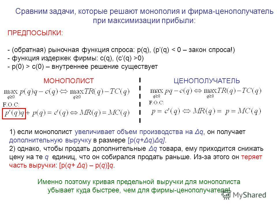 ПРЕДПОСЫЛКИ: - (обратная) рыночная функция спроса: p(q), (p(q) < 0 – закон спроса!) - функция издержек фирмы: с(q), (c(q) >0) - p(0) > с(0) – внутреннее решение существует Сравним задачи, которые решают монополия и фирма-ценополучатель при максимизац